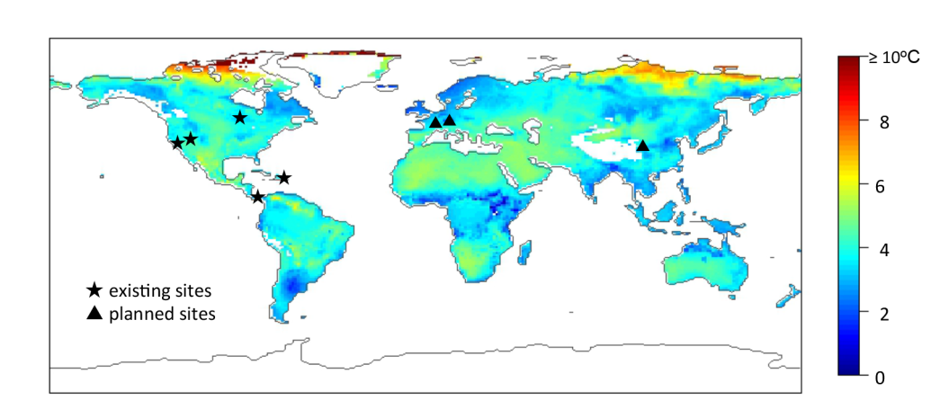 Figure 8: Existing and planned sites for the ISEN at the time of the paper publication. The global temperature map shows the predicted increase in mean temperature for 2080-2100 at 0.01 m soil depth (Torn et al. 2015)
